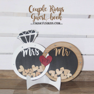 Couple rings- White&Wood- Drop Top Guest book