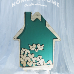 Emerald House-Wood hearts- Drop Top Guest book