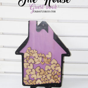 Purple House-Black frame-Wood hearts- Drop Top Guest book