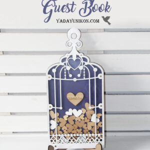 Navy Birdcage-White frame-Wood+White hearts – Drop Top Guest book