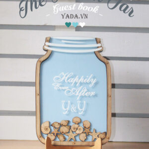 Seashells Mason Jar-Light blue background-Drop Top Guest book