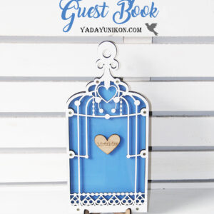 Blue Birdcage-White frame-Wood hearts – Drop Top Guest book