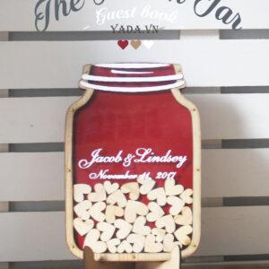 Red Mason Jar-Wood hearts- Drop Top Guest book