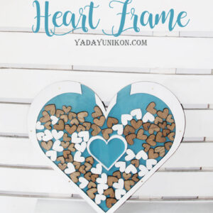 Blue Heart -White frame- Drop Top Guest book