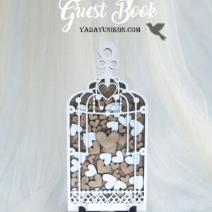 Wood Birdcage-White frame-White+Wood hearts – Drop Top Guest book