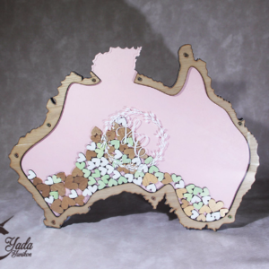 Pink pastel Australia Map – Drop Top Guest book