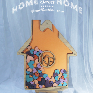Orange House-Multiple color hearts- Drop Top Guest book