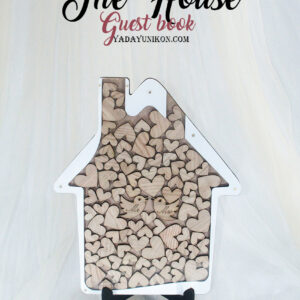Wood House-Wood hearts-White frame- Drop Top Guest book