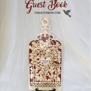 Red Birdcage-Gold frame-Gold hearts – Drop Top Guest book