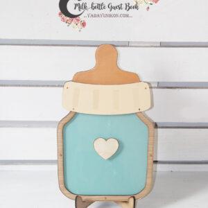 Mint milk bottle- Drop Top Guest book