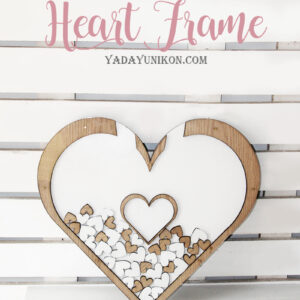 White Heart -Wood Frame- Drop Top Guest book