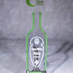 Clear bottle-Green hearts – Drop Top Guest book