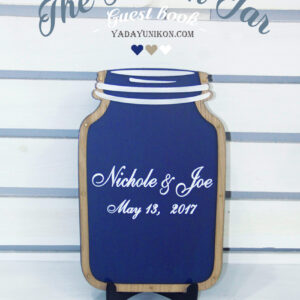 Navy Mason Jar-Wood+white hearts- Drop Top Guest book