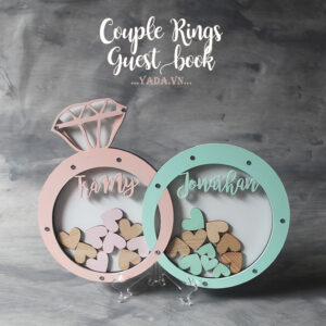 Couple rings- Pink&Mint- Drop Top Guest book