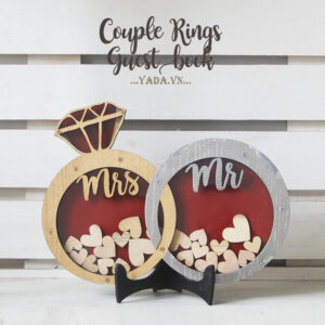 Couple rings- Gold&Silver-Red Background- Drop Top Guest book
