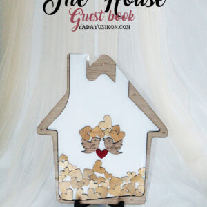 White House-Gold hearts- Drop Top Guest book