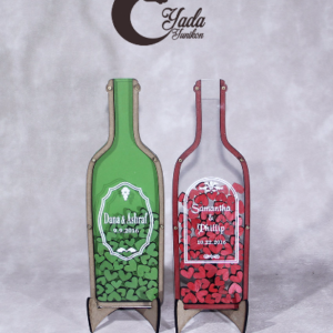 Clear bottle-Red hearts – Drop Top Guest book