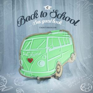 Luminous Green Bus- Drop Top Guest book
