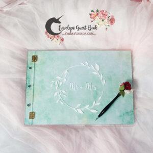 Mint envelope guest book