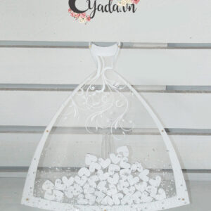 The Bride Dress- Pure background – White frame – Drop Top Guest book