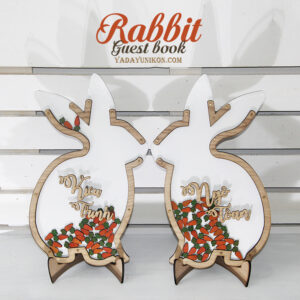 Rabbit&Carrots-White background- Drop Top Guest book
