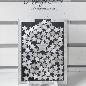 Black Rectangle-Silver stars- Drop Top Guest book