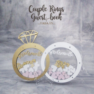 Couple rings- Gold&White-Clear background- Drop Top Guest book