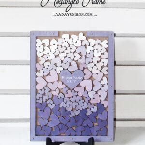 Wood Rectangle-Purple frame-Multiple purple hearts-Drop Top Guest book