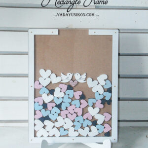 Wood Rectangle-White frame-White+pink+blue hearts-Drop Top Guest book