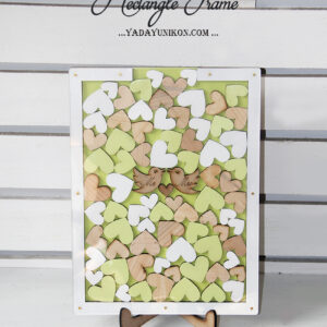 Light green Rectangle-green+white hearts-Drop Top Guest book