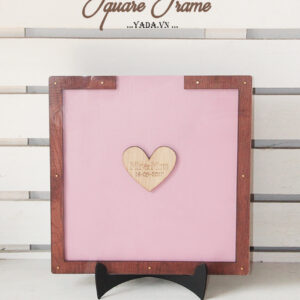 Mauve Square-Brown frame-Wood hearts-Drop Top Guest book
