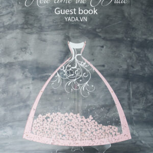 The Bride Dress- Pure background – Pink frame – Drop Top Guest book