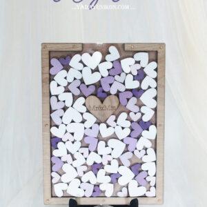 Wood Rectangle-Multiple purple hearts-Drop Top Guest book