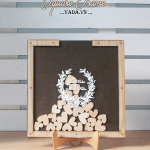 Brown Square-Wood frame+hearts -Drop Top Guest book