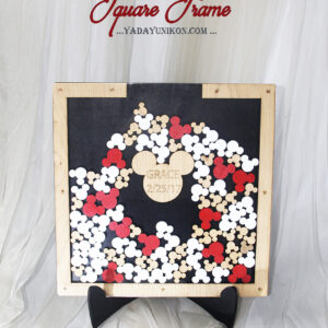 Mickey guest book-Black+white+wood theme-Drop Top Guest book