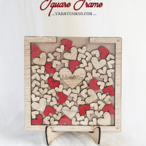 Wood Square-Wood+Red hearts-Drop Top Guest book