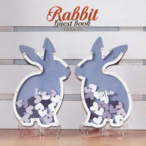 Rabbit&Hearts-Purple background- Drop Top Guest book