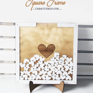 Gold Square-White hearts+frame-Drop Top Guest book