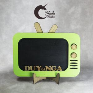 Green TV-Wood hearts-Drop Top Guest book