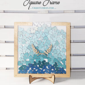 White Square-Gold frame-Multiple blue hearts-Drop Top Guest book
