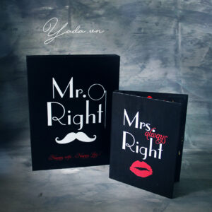 Mr Right+Mrs Always Right – Black cover -Drop Top Guest book