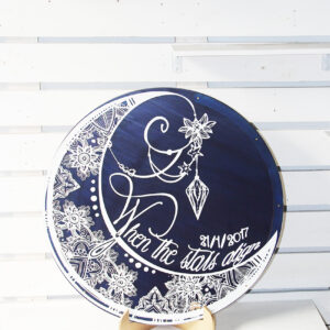 The moon and Stars Guest book – Navy background- Drop Top Guest book