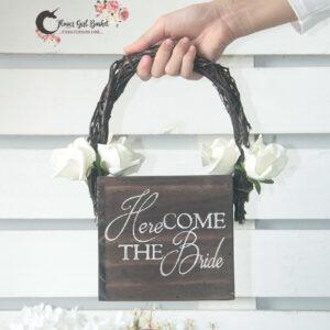 Here Comes The Bride Rustic Flower Girl Basket-Brown basket