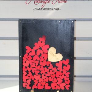 Black Rectangle-Red hearts-Drop Top Guest book