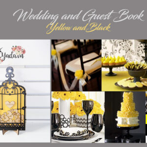 Yellow Birdcage-Black frame-Wood hearts – Drop Top Guest book