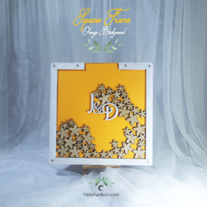 Orange Square-White frame-Wood flowers-Drop Top Guest book