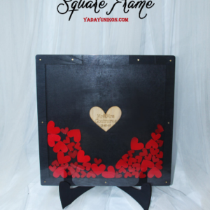 Black Square+frame-Red hearts-Drop Top Guest book