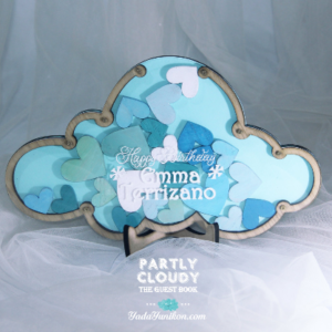 Blue Pastel Cloud -Blue+mint+white hearts- Drop Top Guest book