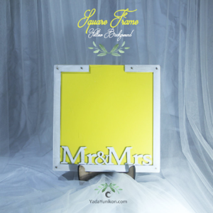 Yellow Square-White frame-White+blue+yellow circle-Drop Top Guest book