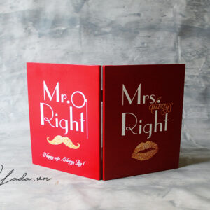 Mr Right+Mrs Always Right – Red Cover- Drop Top Guest book
